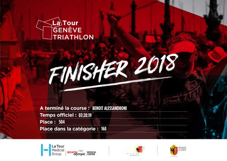 Certificat finisher la tour Genève Triathlon 2018